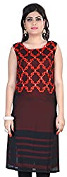 Fashionx black and orange pure georgette embroidered full length kurti