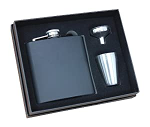 Black Flask Set With FOUR Cups! Dark Matte, 6 Ounces, 4 Cups, Re-fill Funnel, Fitted Box by Frontier