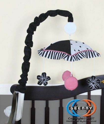 Geenny Musical Mobile For Boutique Black White Flower & Dot 13 Pcs Crib Bedding Set front-15900