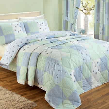Patchwork Blue / Green Double Bedspread