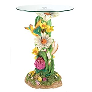 Hummingbirds Flower Blossoms Glass Top Accent End Table