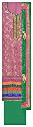 Punjabi Designer Suits Women's Cotton Unstitched Dress Material (Pink and Green)