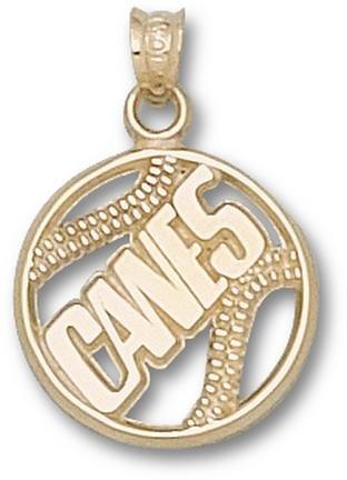 Miami Hurricanes Pierced Canes Baseball Pendant - 14KT Gold Jewelry by Logo Art