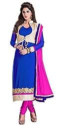 Manvaa Women's Blue Pink Embroidered Chudidar Dress Material