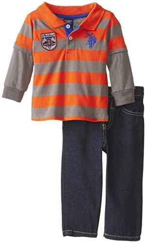 U.S. Polo Assn. Baby-Boys Infant Jersey Hangdown Polo And Denim Jean Set, Harvest Orange, 24 Months