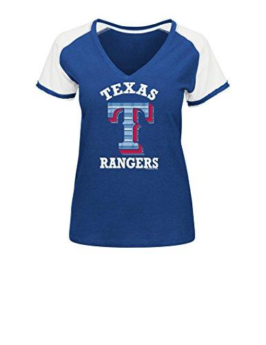 MLB Texas Rangers Women's L5J Fashion Tops, Royal/White, Large (Texas Rangers Shirts Women compare prices)