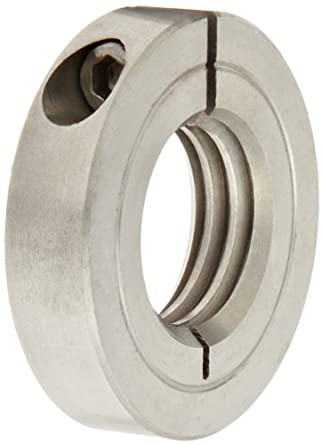 """Climax Metal TC-025-28-S Shaft Collar, One Piece, Threaded, Stainless Steel, 1/4-28 Internal Thread, 13/16"""" OD, 1/4"""" Width, With 4-40 x 3/8 Clamp Screw"""
