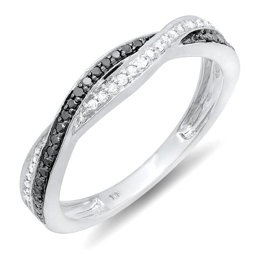 0.25 Carat (ctw) 10K White Gold Round Black & White Diamond Anniversary Wedding Band Swirl Matching Ring 1/4 CT
