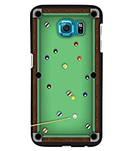 PrintHaat Designer Back Case Cover for Samsung Galaxy S6 Edge :: Samsung Galaxy S6 Edge G925 :: Samsung Galaxy S6 Edge G925I G9250 G925A G925F G925Fq G925K G925L G925S G925T (billiard board :: green board with lots of balls with a stick)