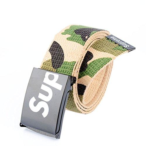 Nanxson(TM) unisex Outdoor tactics Canvas flat buckle Belt Leather Inlay multi colors PDM0011 (khaki)
