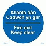 Allanfa dan Cadwch yn glir / Fire exit Keep clear - safety sign - Mandatory Sign