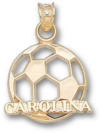 North Carolina Tar Heels Carolina Soccer Ball Pendant - 14KT Gold Jewelry by Logo Art
