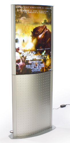 28 X 71 X 7-1/2-Inch, Silver Finish Aluminum Illuminated Poster Stand, Free-Standing, Led Lights, Snap-Open Frame