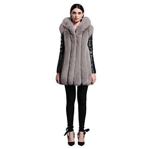 Fur Story FS161147 Donne Reale Lungo Cappotto di Pelliccia di Fox con Maniche in Pelle di Pecora Staccabile Grigio 48