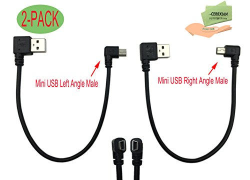 Cerrxian 9Inch Mini USB Cable Combo Mini USB Right Angle & Left Angle Male to USB Type A 2.0 Right Angle Male Data Sync and Charge Cable (2-Pack)