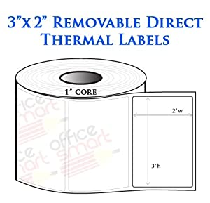 Amazon.com : 3x2 Direct Thermal Removable Labels for Zebra ...