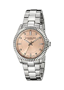 Stuhrling Original Aquadiver Lady Marine Women's Quartz Watch with Rose Gold Dial Analogue Display and Silver Stainless Steel Bracelet 408L.12114