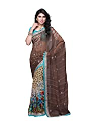 Aaliyah Women's Georgette Saree With Blouse Piece(Brown)