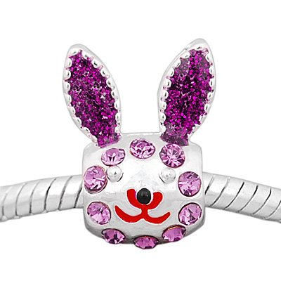Believe Beads x1 Silver Plated Sparkly Purple and Stones Rabbit Charm Bead for Pandora/Troll/Chamilia Style Charm Bracelet