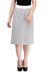 Ladybug Women Striped Pencil Skirt in White