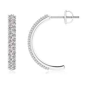 Mothers Day Round Small Diamond Hoop Earringswith Prong Setting in 14K White Gold (Color: J, Clarity: I2, Weight: 0.6ctwt)