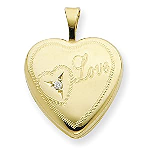 IceCarats Designer Jewelry 1/20 Gold Filled 16Mm Heart With Diamond Love Heart Locket