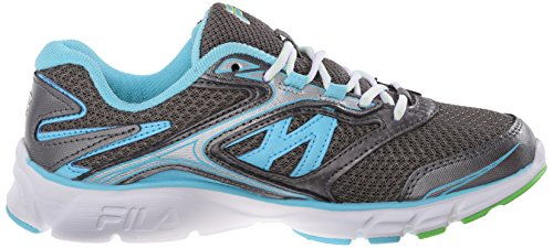 Fila Women's Stir Up Running Shoe, Dark Silver/Metallic Silver/Bluefish, 9 M US