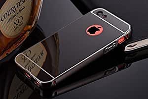 mobbysol luxury aluminium bumper with mirror acrylic back cover for apple iphone 5/5S-black