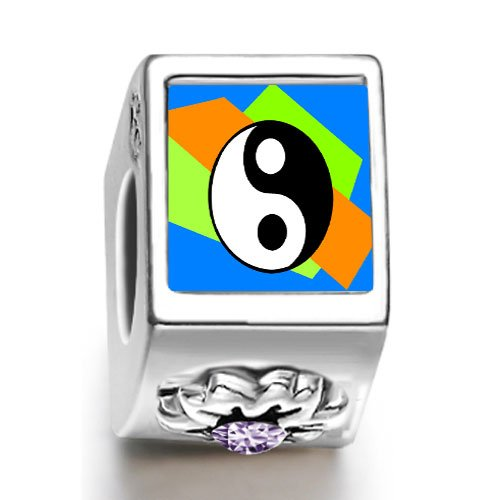 Soufeel Religion Taoism Yin And Yang February birthstone photo flower European charm bead