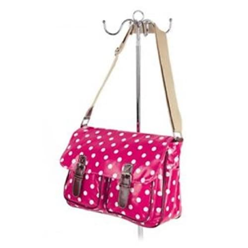 WOMEN GIRLS,LIGHTWEIGHT (Quality Fashion) QUALITY RED CLASSIC STYLE HANDBAG POLKA DOTS CROSS BODY SCHOOL SHOULDER...