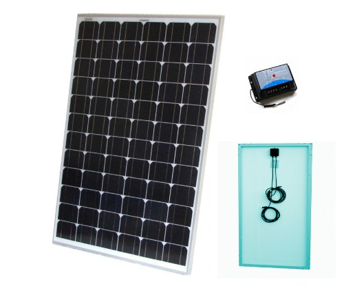 120W Solar Panel Kit with 10A charge controller and wires - Complete kit for a 12V system e.g. in a Caravan, Boat or Outhouse