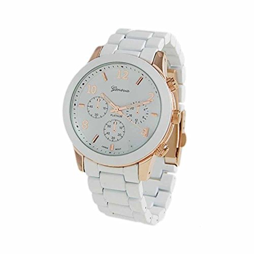"""The """"Boyfriend"""" Watch. Large Sized Ceramic Designer Style Fashion Watch With White Band And White Face With Gold Lining."""