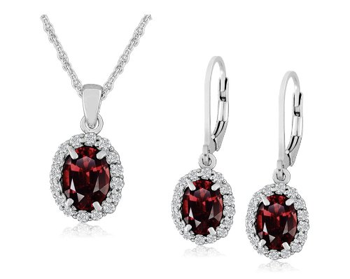 Sterling Silver Garnet Lever Back Earrings and Pendant Necklace Set, 18