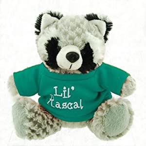 """Small Stuffed Soft And Cuddly Cute Plush Raccon Toy In Shirt With """"Lil' Rascal"""" Saying, 6"""" Sitting - 9"""" Standing"""