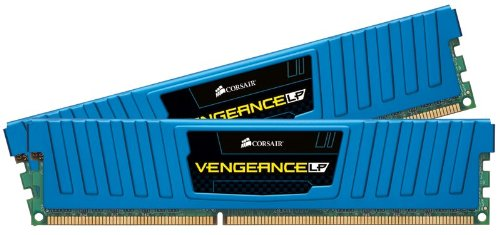 Corsair CML8GX3M2A1600C9B Vengeance Kit di Memoria da 8 GB (2x4 GB), DDR3, 1600 MHz, CL9, Basso Profilo, Blu