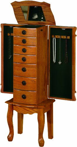 coaster-traditional-jewelry-armoire-oak