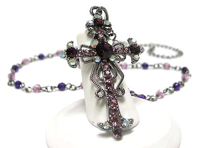 Cross Necklace with Amethyst Crystals