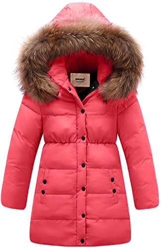 ZOEREA Big Girls Long Winter Parka Coat Puffer Down Jacket Padded Waterproof Outwear with Windbreaker Fur Hood Rosy