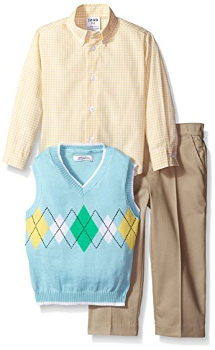 IZOD Little Boys' 3 Piece Argyle Woven Sweater Vest Pant Set, Light Blue, X-Large