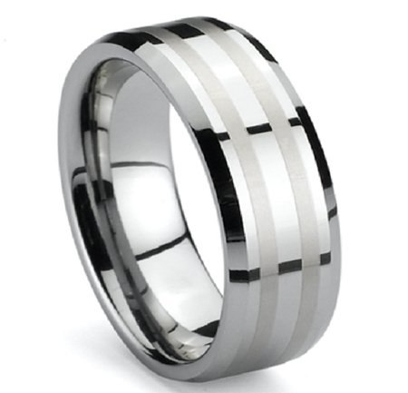 8mm Tungsten Bright Two Infinity Lines Satin Mens Wedding Band Engagment Rings Size (10)