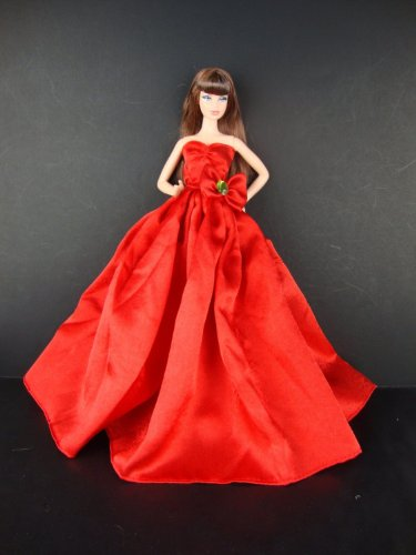 A Long and Flowing Gown in Brilliant Red with a Long Train Made to Fit the Barbie Doll - 1