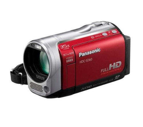 Panasonic SD60 Full HD Camcorder With SD Card Recording, X35 Intelligent Zoom, X25 Optical Zoom, Wide Angle Lens, iA + Face Recognition - Red