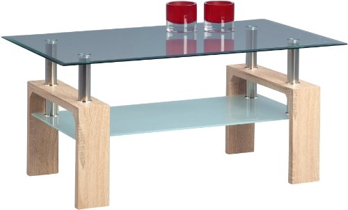 HomeTrends4You 159242 Couchtisch, 95 x 43 x 55 cm, Dekor Sonoma eiche glas