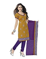 PShopee Mustard & Purple Jacquard Cotton Embroidery Unstitched Dress Material