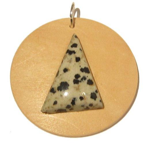 Jasper Pendant 18 Stone Dalmatian Triangle Wood Circle Crystal Spotted Black Healing 1.6