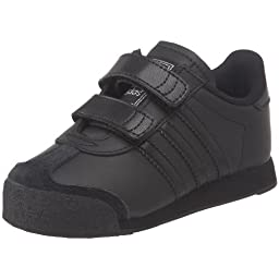 adidas Originals Samoa Comfort Sneaker (Infant/Toddler),Black/Black/Metallic Silver,3 M US Infant