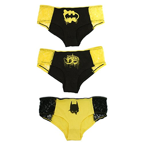 DC Comics Batman Panty Set 3-Pack with Lace Trim (Small) (Womens Batman Underwear)