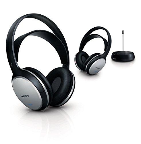 Philips SHC5102 2 Casques Hi-Fi transmission FM sans fil avec station, rechargeables, 2 canaux, piles rechargeables incluses, Gris