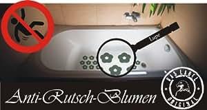 """das-label 20 x Anti-Rutsch Aufkleber"""" blumen087 """" farbig Blumendeko, wasserfest, Badewanne und Dusche rutschhemmend hellgrün"""