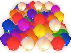 Lot de 100 Lanternes volantes multicolores colorées chinoise fête soirée mariage romantique évenement festival luminaire spéctacle en plein air